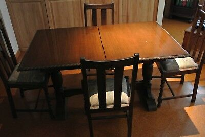 English Oak Table with 4 Barley Twist Chairs very good condition