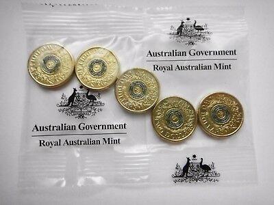 2017 Australian  $2 Dollar  5 Coins In Bag  Remembrance  Coloured Ring Unc  #4