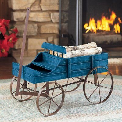 Wood Country Wagon distressed Wheel barrow garden vintage Flower Planter Stand