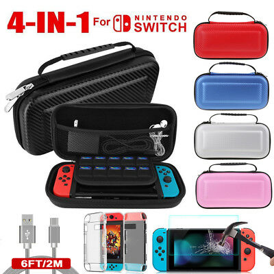 For Nintendo Switch Accessories Hard Case Bag+Shell Cover+Charge Cable+Protector