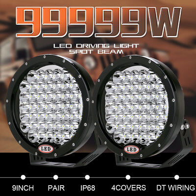99999W Pair 9inch CREE LED Driving Lights Round Black Spotlights Offroad 4WD SUV