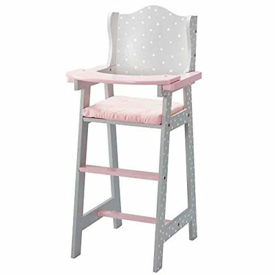 Olivias Little World Baby Doll Furniture Baby High Chair Grey Polka