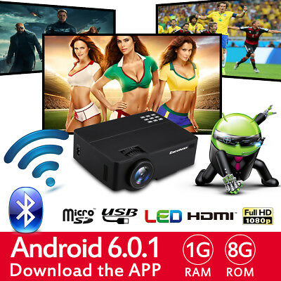 WiFi 4K 3D Android 1080P LED Projector Home Theater Cinema Bluetooth HDMI USB 8G