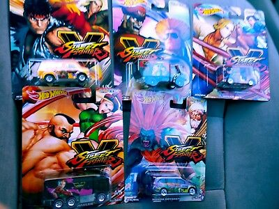 5 Car Street Fighter CAPCOM Set * 2018 Hot Wheels Pop Culture * In Stock