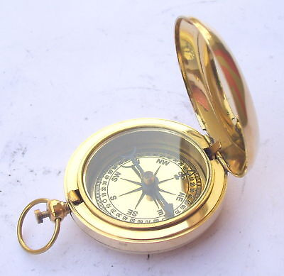Antique Brass Nautical Sundial Pendent Push Button Victorian Pocket Compass Z Elegant In Style Antiques