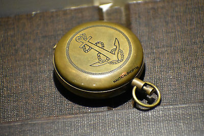 Vintage Brass Push Button Compass Marine Antique Brass Pocket Sundial Compass 2""