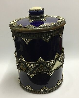 Vintage Middle Eastern pottery tea caddy with metal and shell decoration
