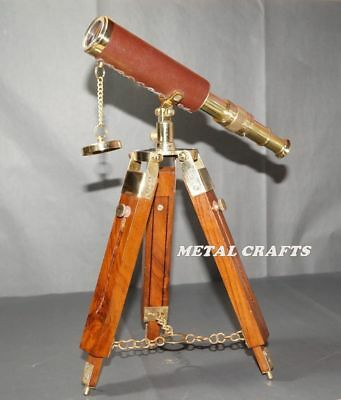Vintage Brass Telescope Leather Nautical Astronomy Telescope W Wood Stand
