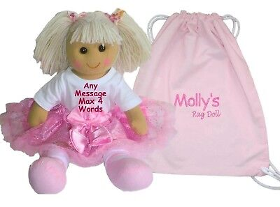 Personalised Rag Doll Flower Girl New Baby Christening Birthday Bridesmaid Gift