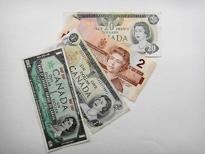 CANADA   $1  $2  $20  DOLLARS  OLD PAPER  BANKNOTES  VF/ EF  Condition