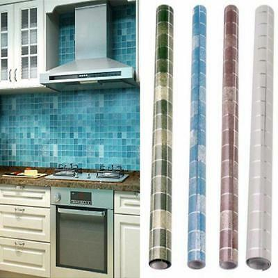200*45cm Oil Proof Mosaic Anti Oil Wall Paper Tile Sticker Kitchen Bathroom SO