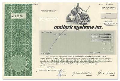 Matlack Systems, Inc. Stock Certificate
