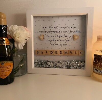 Wedding Favour | Will You Be My Bridesmaid | Gift Scrabble Box Frame | Proposal