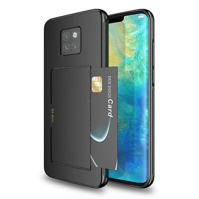 For Hauwei Mate 20 Pro Hard Hybrid Armor Case Cover With Slide Card Slot Holder