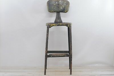 Antique/Vintage Industrial Stool Art Deco Design Features Bar Height Stool