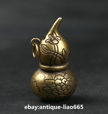44MM Small Curio Chinese Bronze Hollow Out Gourd Lotus Flower Cucurbit Pendant葫芦