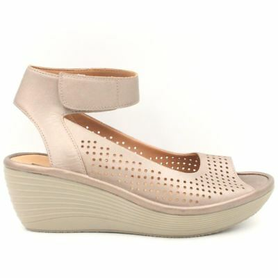 8e57c004aaa CLARKS Reedly Salene Women Perforated Wedge Size 8M Pewter Bronze Nubuck  Leather
