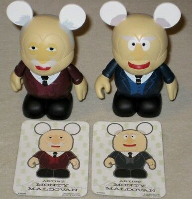 Disney VINYLMATION MUPPETS Series 1 Waldorf & Statler with Cards 2 Figures AUTH