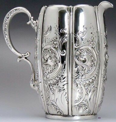 Art Nouveau Hand Chased Whiting Sterling Silver Pitcher 36 fl. oz S Mono #3091