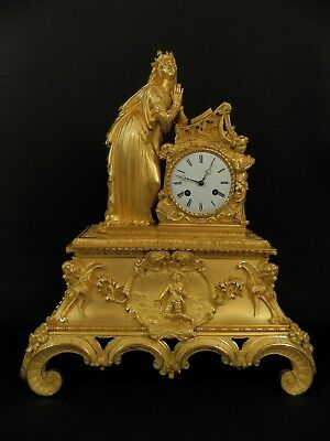 Antique French Louis Philippe Gilt Bronze figural Clock with Nobel lady c1840