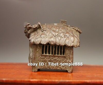 6 CM Chinese red Copper house bothie thatched cottage thatching Incense Burner