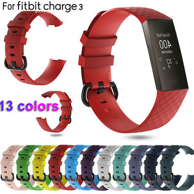 3 Band Wrist Strap Replacement Wristband Silicone Bracelet For Fitbit Charge 3