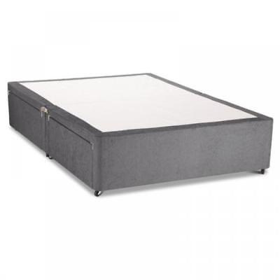 Charcoal Chenile Divan Base With Under Bed Drawer Storage - Mattress Option