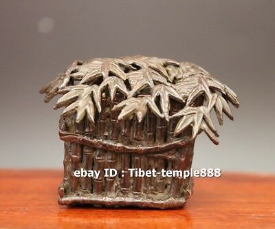 7 CM Chinese red Copper Bamboo house thatched cottage thatching Incense Burner