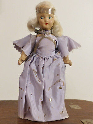 PRETTY VINTAGE Christmas Tree Ornament NOMA ANGEL Doll TREE TOPPER Lilac Dress