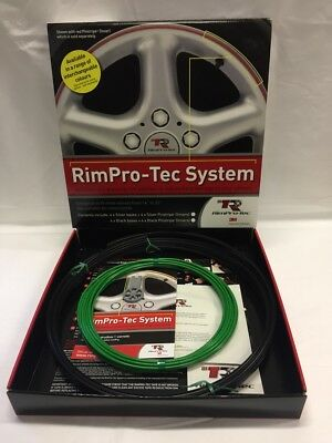 "Alloy Wheel Rim Protectors (Rim-Pro Tec) 4X 14""-22"" Black With Dark Green Insert"