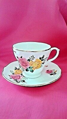 Tea cup and Saucer Set Liverpool Road Pottery Fine Bone China Happy Anniversary