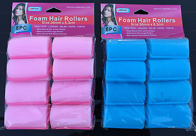 """SOFT FOAM CUSHION HAIR ROLLERS CURLERS HAIR CARE STYLING XL SIZE 1.42""""x 2.48"""""""