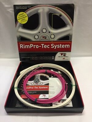 "Alloy Wheel Rim Protectors (Rim-Pro Tec) 4 X 14""-22"" White With Pink Insert"