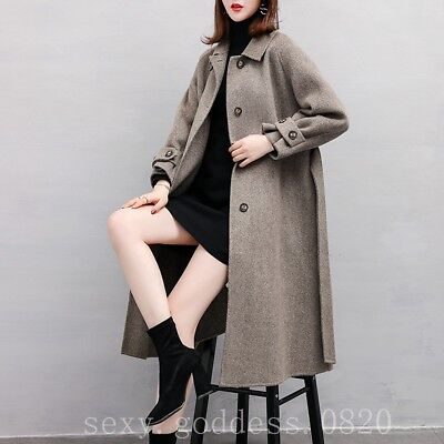 Vintage Ladies Wool and Cashmere Coat Lapel Double-faced Cashmere Belt Trench