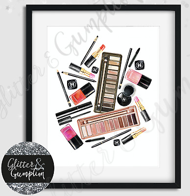 Fashion Makeup Chanel Collection Drawings beauty room bedroom wall art print