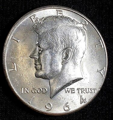 1964 P  KENNEDY SILVER HALF DOLLAR in BRIGHT BU condition, NICE COIN 90% Silver