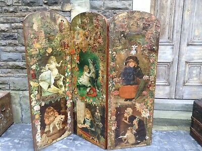 Antique Victorian Decoupage Screen
