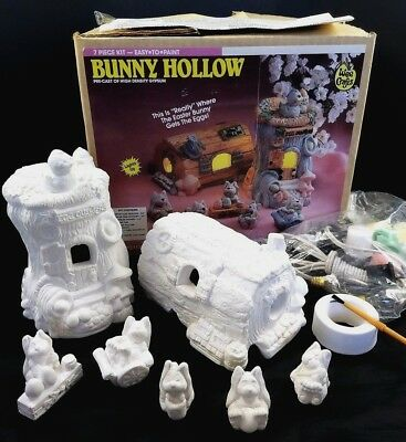 WEE CRAFTS Ready to Paint Bunny Hollow Light Up Easter NEW Accents Unlimited