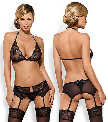 OBSESSIVE 858 Luxury Super Soft Decorative Suspender Belt and Matching Thong Set