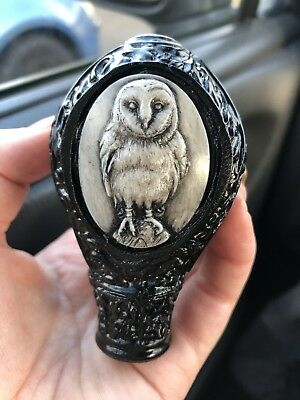Owl Three Sided Inlay Walking Stick Handle Head