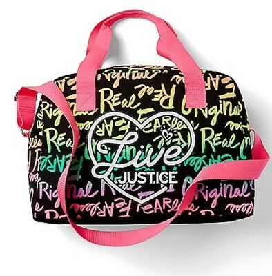 """NWT Justice Girls """"Live Justice"""" Black Duffle Bag! Sports, Sleepovers, Travel!"""