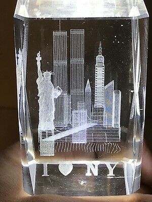 Vintage Laser Etched I Love NY New York -Twin Towers- 9/11 Crystal Glass