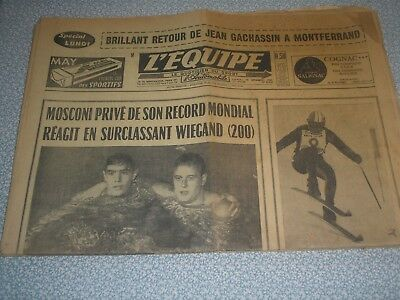 journal l'équipe 19/12/1966 natation MOSCONI WIEGAND football ST ETIENNE NANTES