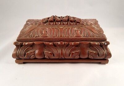 African hand carved Wood Jewelry Box