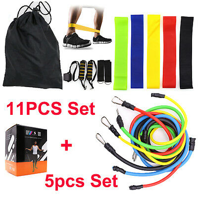 11+5Pcs Resistance Bands Set Workout Exercise Sport Crossfit Fitness Loop Tubes