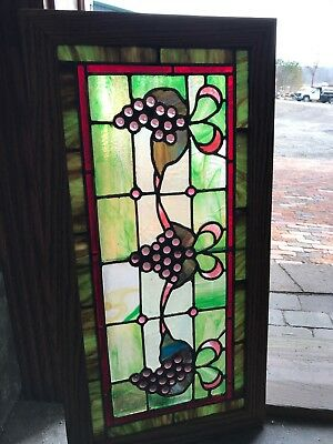 "SG 2717 antique jeweled grape cluster transom window 31 3/8"" x 16"