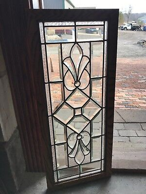 SG 2719 antique beveled glass and textured glass transom window 15.25 x 36.25