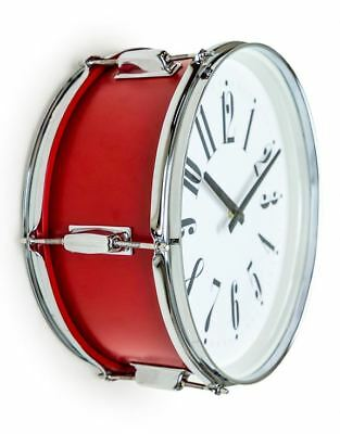 "Red 15"" Drum Wall Clock Band Music Modern White face numbers Chrome"