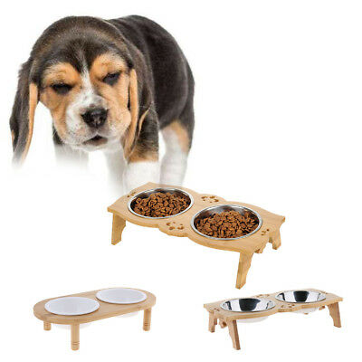 Pet Bowls Ceramic Raised Dog Bowls w/ Bamboo Stand for Dog Cat Puppy
