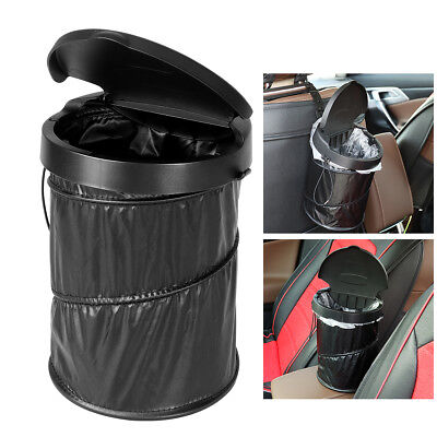Portable Car Dustbin Trash Waterproof Collapsible Can Box Lid 30pcs Garbage Bags